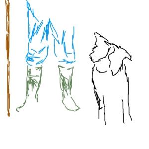 Farmer and sheep dog